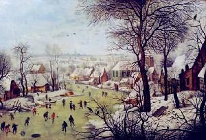 Peisaj de iarnă cu patinatori şi cursă de păsări, de Peter Brueghel cel Tânăr